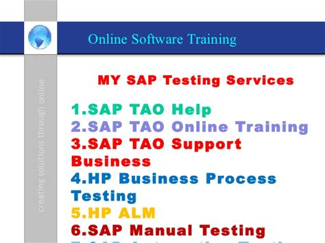 sap testing tutorial ppt sap tao online trainings sap erp testing erp testing hp alm