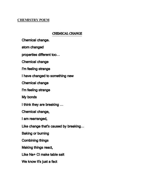 chemistry poems poem