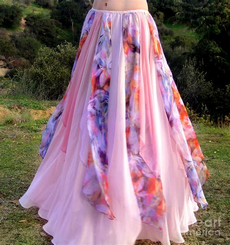 Gamis Pink Shofiya Maxi ameynra fashion pink multi color maxi skirt photograph by sofia goldberg