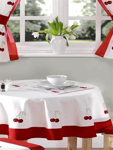 red white cherry embroidered kitchen curtain place