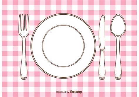 dinner setting vector gingham dinner table setting free vector stock graphics images