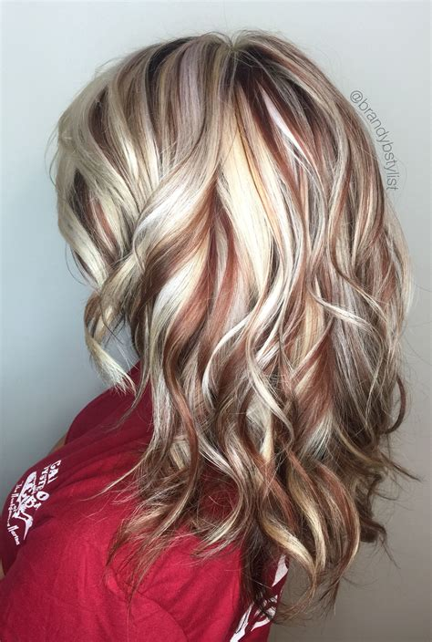 blonde and copper hairstyles blonde and red highlights highlights lowlights copper