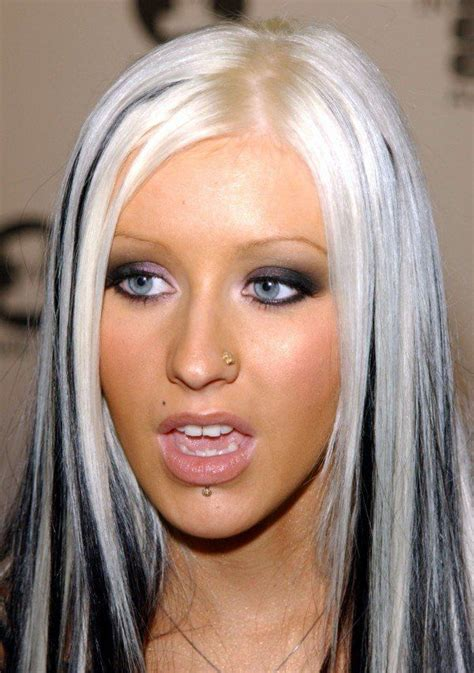 aguilera hair color aguilera s platinum hair with black