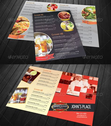 bi fold menu template stylish food menu templates entheos