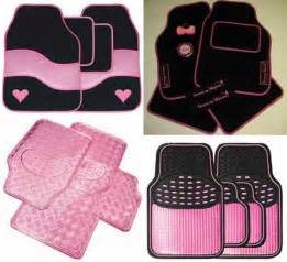 car accessories pink floor mats and black pictures