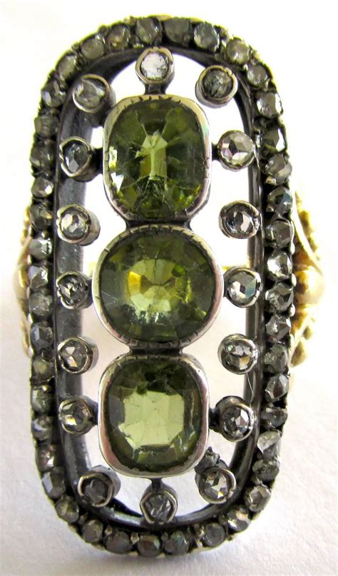 antique peridot silver gold ring for sale at