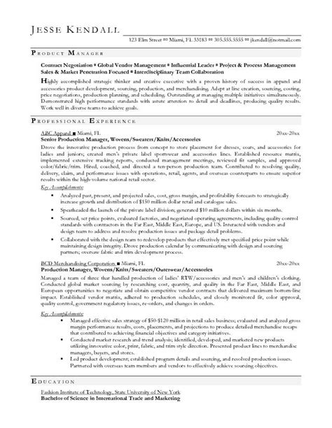 sle resume product manager production supervisor resume format production