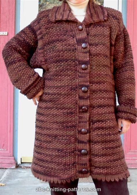 coat knitting pattern abc knitting patterns moss stitch coat
