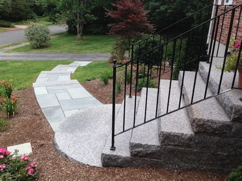 Front Yard Slope Landscaping Ideas - entrances and steps landscaping in ma natural path landscaping