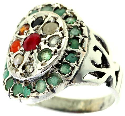 Gms India Bordir navaratna ring with emerald border
