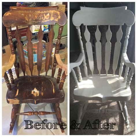 solid wood rocking chair restored painted white  chalk paint  dark waxed restoration