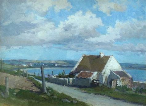 Landscape Artists Northern Ireland Hans Iten R U A Cottages Northern Ireland Painting