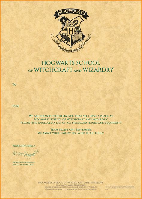 Hogwarts Acceptance Letter Fill In 13 Harry Potter Hogwarts Letter Quote Templates
