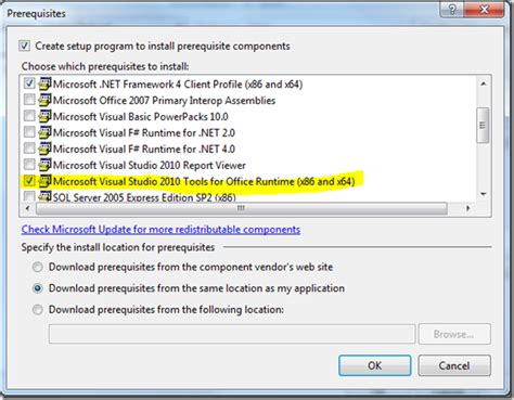 Visual Studio Tools For Office 2010 when do i need to deploy the vsto runtime