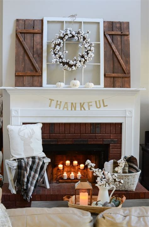 neutral and simple fall mantel