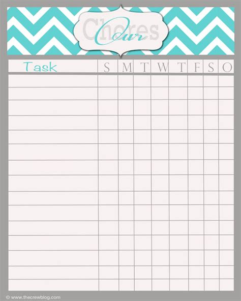 5 best images of blank printable chore charts adult