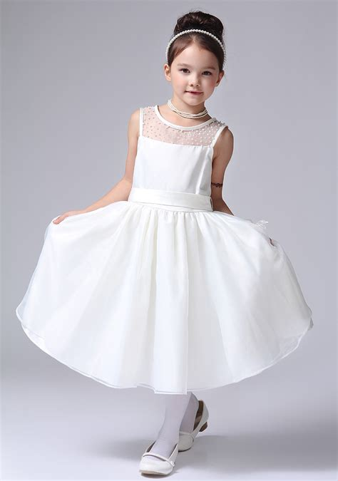 design flower girl dress online newest design girls ball gown white long frocks dress