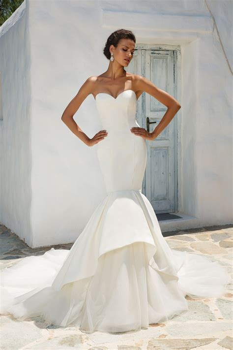 mermaid style wedding dress style 8933 satin mermaid wedding dress accented with
