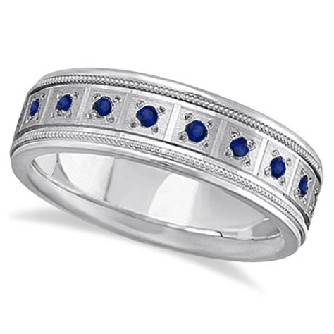 blue sapphire ring for wedding band 18k white gold 0 80ct