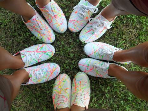 Paint Splatter Decorations by Neon Splatter Paint On White Canvas Shoes New