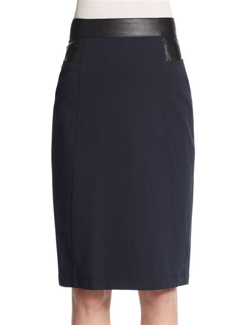 akris punto faux leather trimmed jersey pencil skirt in