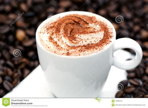 Cappucino Coffee Bean cappuccino on coffee beans stock image image 12833721