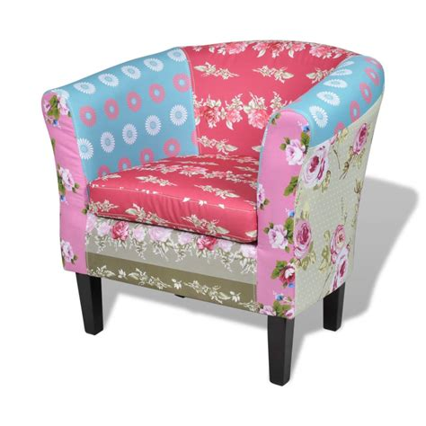 patchwork chairs patchwork chair upholstered armrest with foot stool www vidaxl com au
