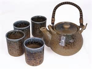 Kitchen Canisters Sets pale blue and earthen crackled sand japanese tea set for four