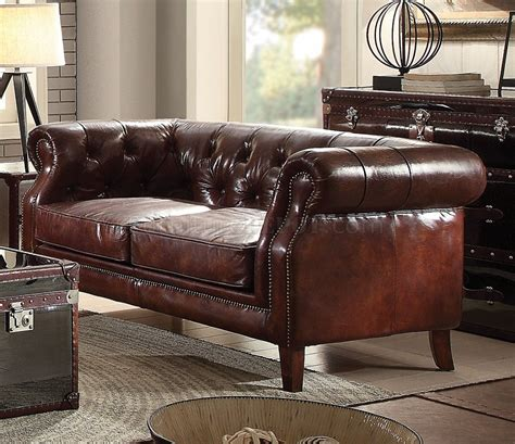 Leather Sofas Aberdeen by Aberdeen Sofa 53625 In Brown Top Grain Leather By Acme W