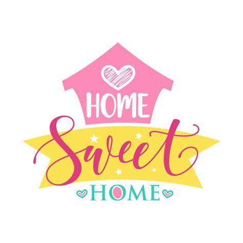handwritten word home sweet home vector illustration