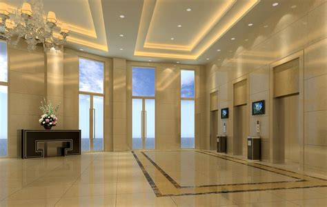 ceiling design for hotel lobby and elevator 3d house