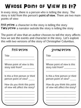 Point Of View Worksheets For Middle School by Christopher Columbus Point Of View Lesson By Ms E Goes