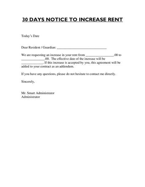 Rent Increase Letter Format letter format for rent increase edit fill sign