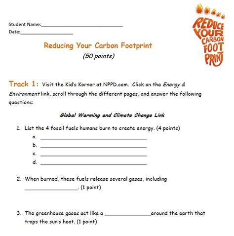 printable carbon footprint questionnaire ecological footprint worksheet worksheets releaseboard