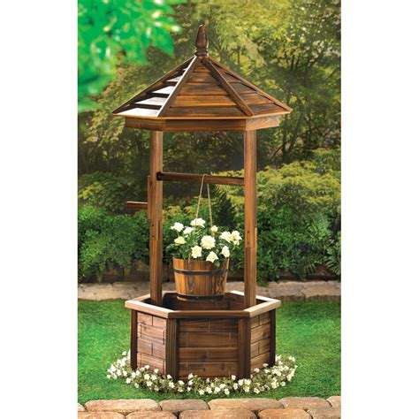 home outdoor decor natural wood rustic wishing well planter eonshoppee