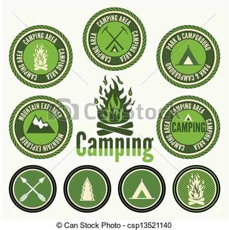 Stock Illustration Of Set Of Eps Vector Of Set Of Retro Cing Badges And Labels Csp13521140 Search Clip Illustration