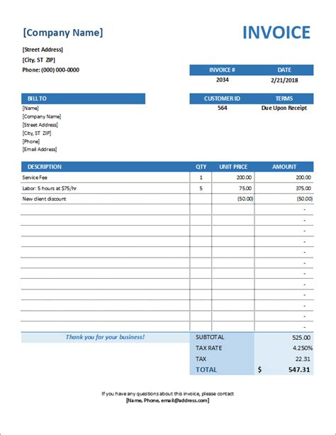 Service Invoice Template For Consultants And Service Providers Utility Invoice Template