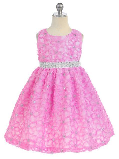 Dress Pearl Hotpink pink floral ribbon dress w pearl waistband