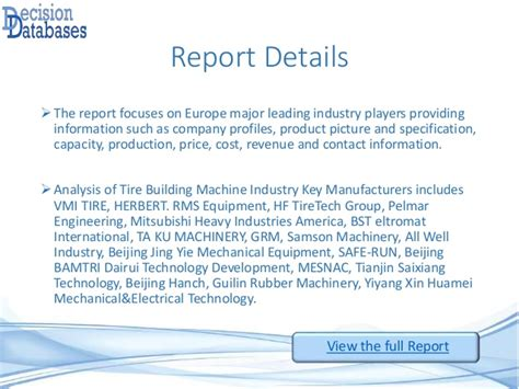 europe tire building machine industry  market research report
