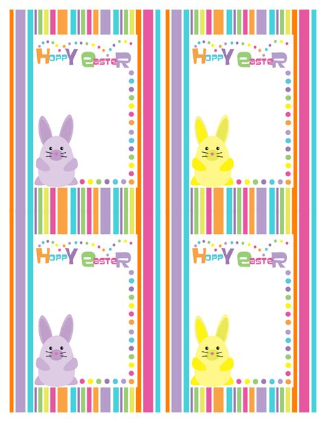 Easter Gift Card Template by Bunny Rainbow Stripe Supplies Printable Best Gift