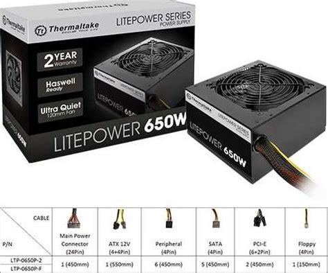 Litepower 650 Non Modular Atx 23 A Pfc12cm thermaltake litepower 650w power supply buy thermaltake litepower 650w power supply in