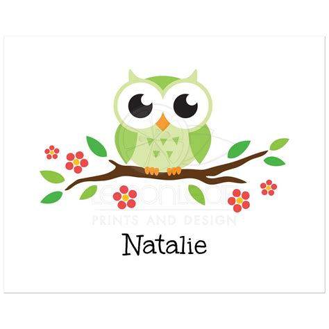 Wall Stickers Birds green owl on flowering branch nursery wall art print for
