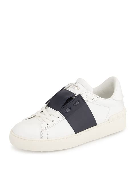 s valentino sneakers valentino rockstud two tone open laced sneaker in white lyst