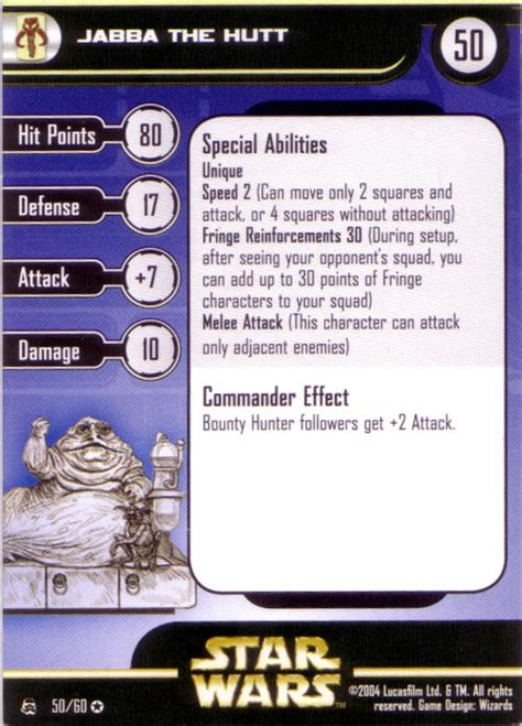 wars miniatures card template wars miniatures jabba the hutt jabba crime lord