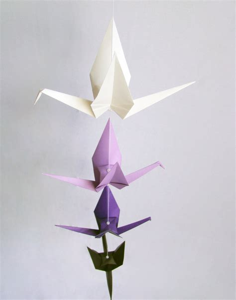 Origami Hanging Decorations - ready to ship origami crane hanging mobile purple