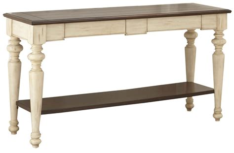 Wesley Antique White And Walnut Sofa Table Wy300s Steve