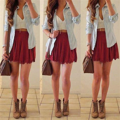 skirt burgundy skirt scallop scallop skirt