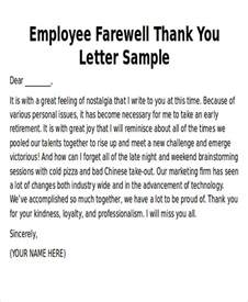Thank You Letter To Retiring Sle Thank You Notes To Employee 8 Exles In Word Pdf