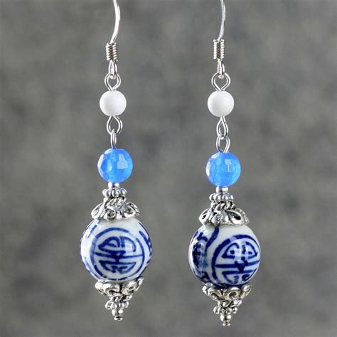 Earring Handmade - blue and white porcelain earrings original design jewelry