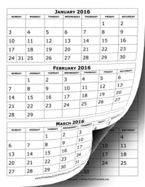 calendar template 3 months per page printable 2016 calendar three months per page